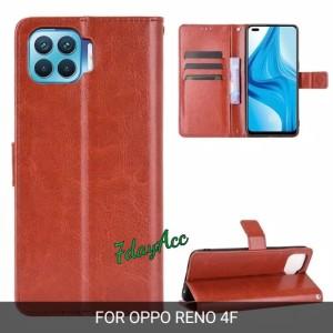 Harga flip case leather oppo reno 4f bahan kulit model dompet cover   | HARGALOKA.COM