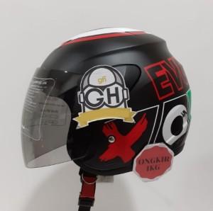Harga helm half face evolution motif outside mirip gm evo murah helm dewasa   black doff silv m 56cm   | HARGALOKA.COM