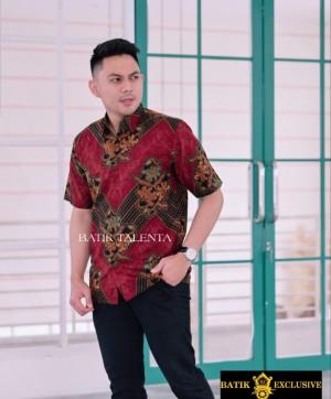 Harga baju kemeja batik modern pria lengan pendek   merah   HARGALOKA.COM