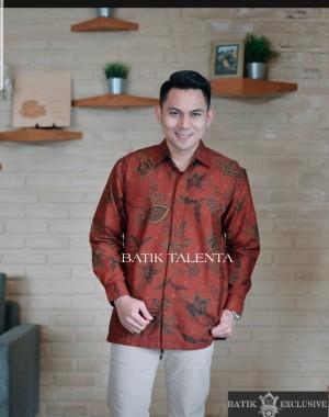 Harga baju kemeja batik modern pria lengan panjang berkualitas   orange   HARGALOKA.COM