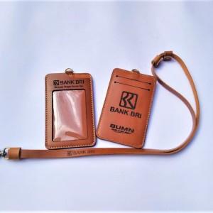 Harga name tag holder bri kulit asli coklat id card holder id   HARGALOKA.COM