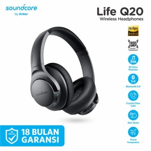 Harga headphone bluetooth soundcore life q20 black   | HARGALOKA.COM