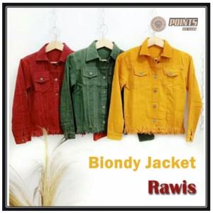 Harga jaket biondy jaket jeans wanita model rawis rumbai bulu bulu bawah   merah all | HARGALOKA.COM
