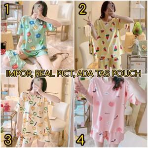 Harga baju tidur piyama wanita murah setelan piyama kaos impor hp     HARGALOKA.COM