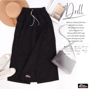 Harga kulot bawahan rok celana rickyrieez drill hitam keren cantik sporty   | HARGALOKA.COM