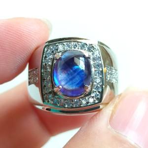 Harga cincin natural royal blue safir kelas atas dengan ring alpaka mewah   | HARGALOKA.COM