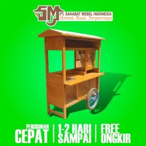 Harga rombong grobak gerobak bakso kayu mahoni termurah free ongkir   paket | HARGALOKA.COM