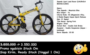 Harga sepeda gunung lipat land rover daurada   kuning ready stock | HARGALOKA.COM