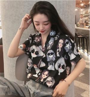 Harga garaf monalisa kemeja wanita kemeja pastel atasan cewek hawai mix 11   retro hitam | HARGALOKA.COM
