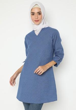 Harga mineola hijab checkered round blue   | HARGALOKA.COM