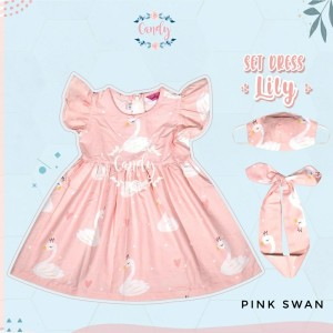 Harga set dress anak perempuan lily part 2   pink swan | HARGALOKA.COM