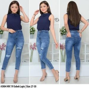 Harga celana highwaist jeans 7 9 highwaist ripped jeans cewek sz 27 30 h5904     HARGALOKA.COM