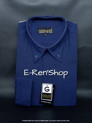 Harga kemeja pria geoland lengan panjang polos warna biru dongker   | HARGALOKA.COM