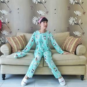 Harga baju tidur wanita bahan kaos import celana panjang motif donald   HARGALOKA.COM