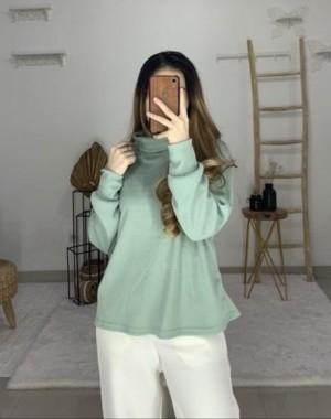 Harga davira turtleneck bahan uniq knit jaket wanita sweater model terbaru   | HARGALOKA.COM