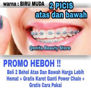 Harga best seller atas dan bawah behel lepas pasang warna biru   HARGALOKA.COM