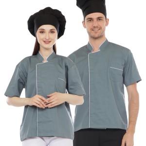 Harga baju chef abu list putih   | HARGALOKA.COM
