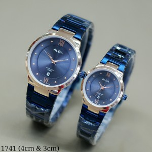 Harga jam tangan couple alba romawi couple rantai stainless free box   biru   HARGALOKA.COM