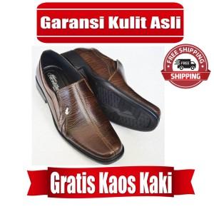 Harga sepatu pria kulit 100 sepatu pantofel sepatu crocodile a6 cokelat   | HARGALOKA.COM