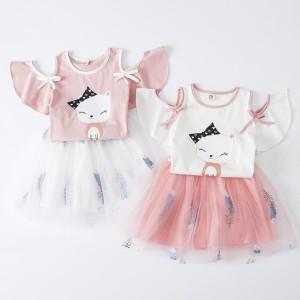 Harga setelan pakaian baju kucing anak perempuan cewek rok tutu import p47   pink size | HARGALOKA.COM