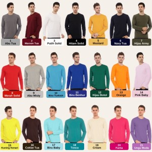 Harga kaos polos cotton combed 30s lengan panjang top quality   | HARGALOKA.COM