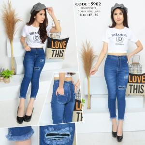 Harga celana highwaist jeans 7 9 highwaist ripped jeans cewek sz 27 30 h5902     HARGALOKA.COM