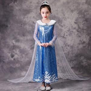 Harga baju dress anak kostum frozen princess elsa sequin blue import 4t 8t   | HARGALOKA.COM