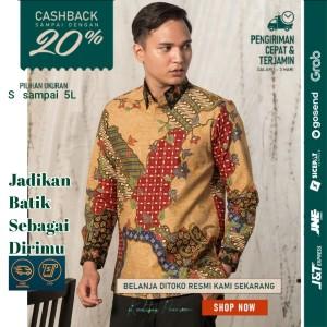 Harga baju kemeja batik pria motif tulis seperti atbm sutra pesta br05   | HARGALOKA.COM