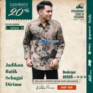Harga baju kemeja batik pria lengan panjang pendek modern pesta kantoran g22   | HARGALOKA.COM