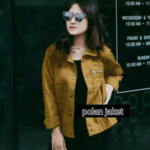 Harga jaket canvas polan canvas pocket wanita   mustard all | HARGALOKA.COM