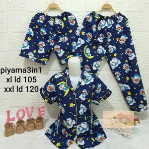 Harga piyama wanita motif doraemon baju tidur wanita set piyama 3in1   | HARGALOKA.COM