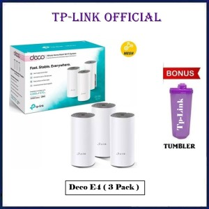 Harga tp link deco e4 ac1200 3pack whole home mesh wifi system tplink 3 pack   free | HARGALOKA.COM