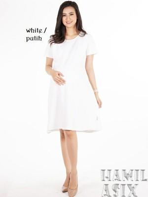 Harga belva dress hamil menyusui midi estila mama kaos spandex   putih | HARGALOKA.COM