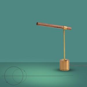 Harga lampu meja belajar kayu linear rangka emas   wood linear table | HARGALOKA.COM