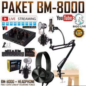 Harga paket komplit mic bm8000 soundcard v8 stand mic phone holder | HARGALOKA.COM