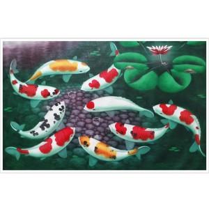 Harga lukisan ikan koi feng sui 85 x 135 cm   | HARGALOKA.COM