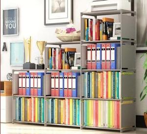 Harga rak buku 3 sisi 9 ruang susun serbaguna lemari sepatu buku portable   | HARGALOKA.COM