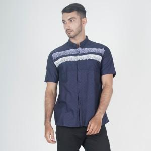 Harga baju muslim kemeja koko kerah shanghai navy motif print pria m xxl   | HARGALOKA.COM