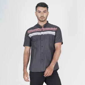 Harga baju muslim kemeja koko kerah shanghai abu motif print pria m xxl   | HARGALOKA.COM