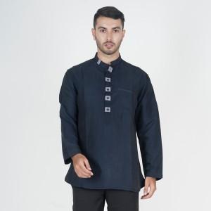 Harga baju muslim kemeja koko pakistan navy polos lengan panjang pria m xxl   | HARGALOKA.COM