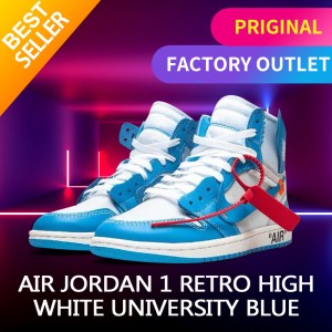 Harga nike air jordan 1 off white blue unc original sneakers   | HARGALOKA.COM
