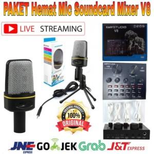 Harga paket hemat mic kondenser soundcard mixer v8 home recordinv | HARGALOKA.COM