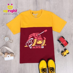 Harga baju kaos anak laki laki 2 layer seri transportasi upright usia 6 14 t   mustard tank size   HARGALOKA.COM