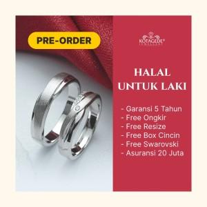 Harga cincin tunangan kawin nikah couple custom palladium paladium ukir | HARGALOKA.COM