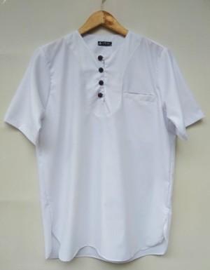 Harga baju koko pakistan toyobo polos pria lengan pendek casual modern   putih | HARGALOKA.COM