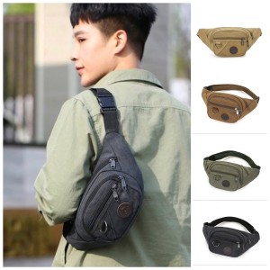 Harga tas selempang pria kanvas impor waistbag sling bag premium   | HARGALOKA.COM