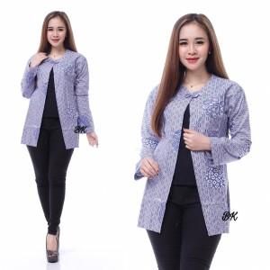Harga bolero outer batik wanita modern baju kerja kantor wanita biru putih   kode | HARGALOKA.COM