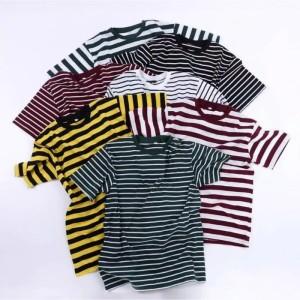 Harga kaos salur stripe pria wanita premium katun cvc 30s harga grosir   medium hijau | HARGALOKA.COM