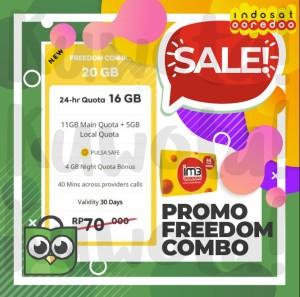 Harga 20gb perdana paket data internet indosat ooredoo freedom combo 20 | HARGALOKA.COM