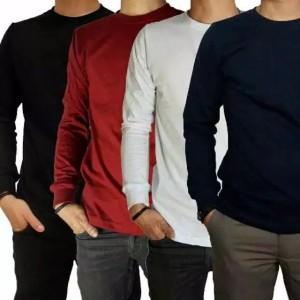 Harga kaos polos lengan panjang premium cotton combed 30 pria wanita   putih panjang | HARGALOKA.COM